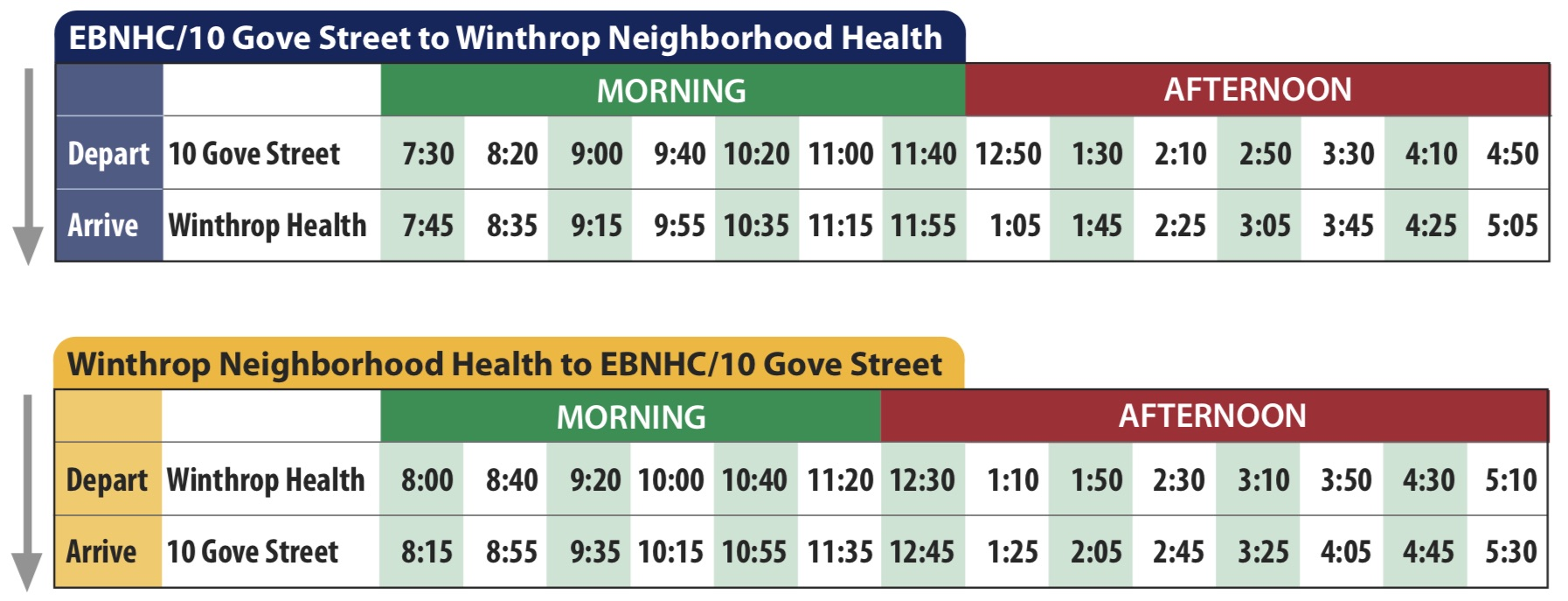 Shuttle Schedules — EBNHC